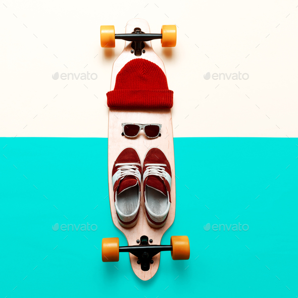 Set skateboarder. Stylish active life. Sneakers, sunglasses, ska - Stock Photo - Images
