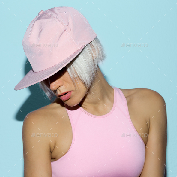 Rnb Girl in a cap Urban style fashion - Stock Photo - Images