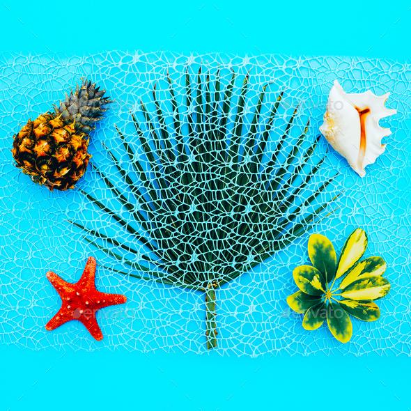 Tropical Sea set. Pineapples, shells, palm. Minimal - Stock Photo - Images