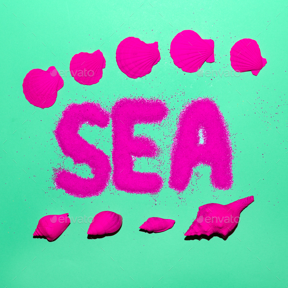 Sea Style Shells Minimal Art Neon Beach - Stock Photo - Images