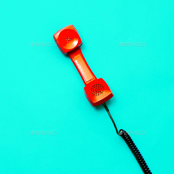 Retro phone. Minimal design art - Stock Photo - Images
