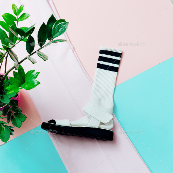 Sandals and socks. Summer minimum. Hipster style - Stock Photo - Images