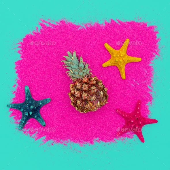Mini Pineapple and starfish. Beach concept. Minimal art design C - Stock Photo - Images
