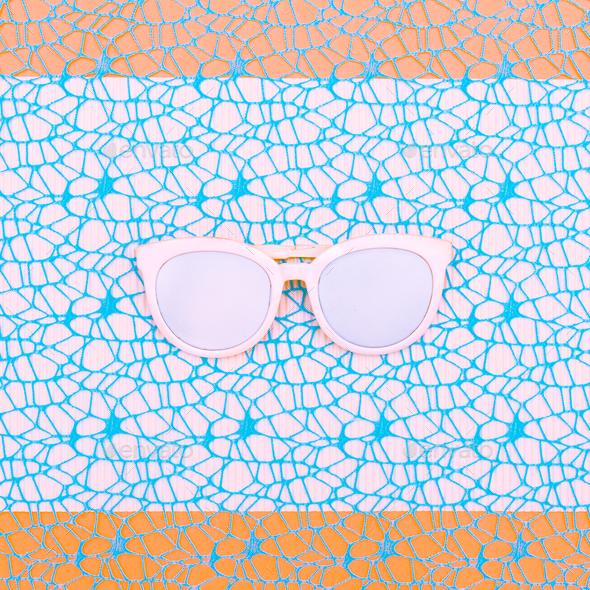 White Glasses. Minimal art design - Stock Photo - Images