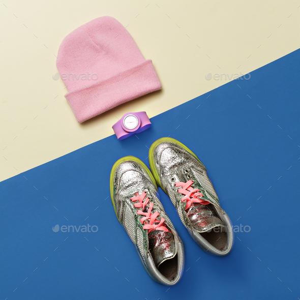 Urban Street Fashion Style minimal set Sneakers Watches Caps - Stock Photo - Images