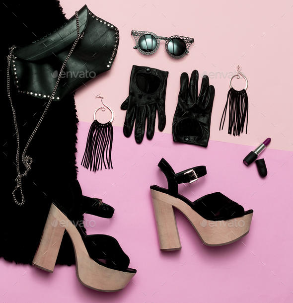 Luxury women's clothing. Sexy. Top view. Date Outfit Heels Lipst - Stock Photo - Images