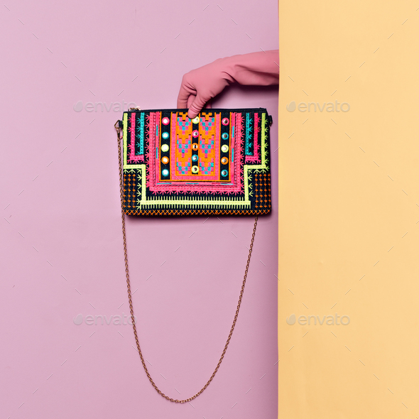 Stylish clothes. Minimal fashion. Clutch for summer. Wardrobe Tr - Stock Photo - Images