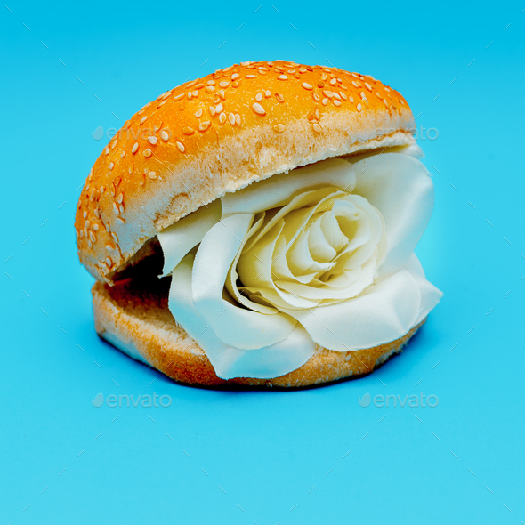 Roses burger surreal fashion art - Stock Photo - Images