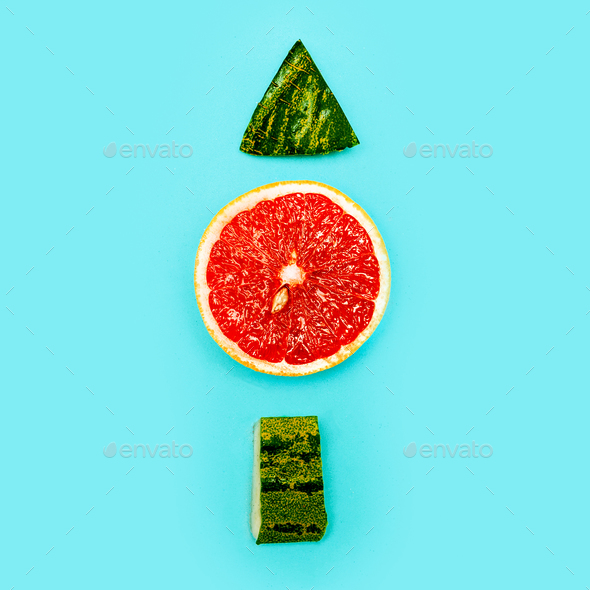 Positive fresh mood. Up. Still Life grapefruit and watermelon mi - Stock Photo - Images