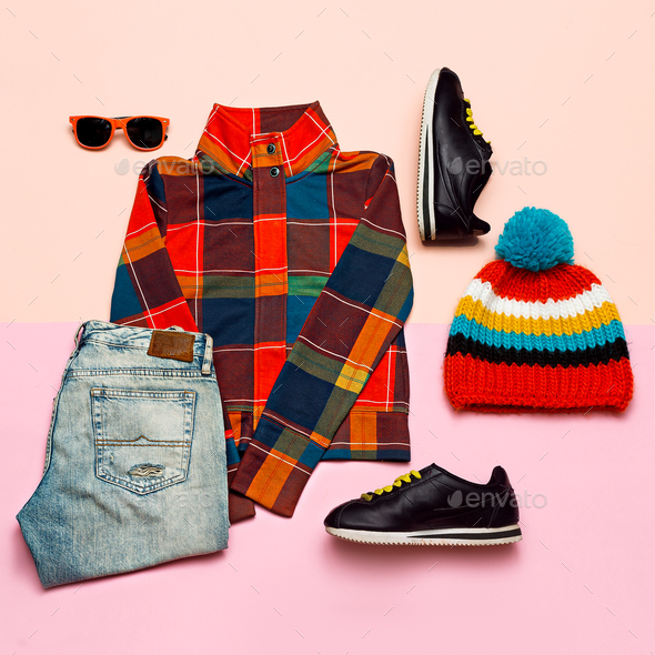 Set of clothes. Top view Checkered jacket and bright accessories - Stock Photo - Images