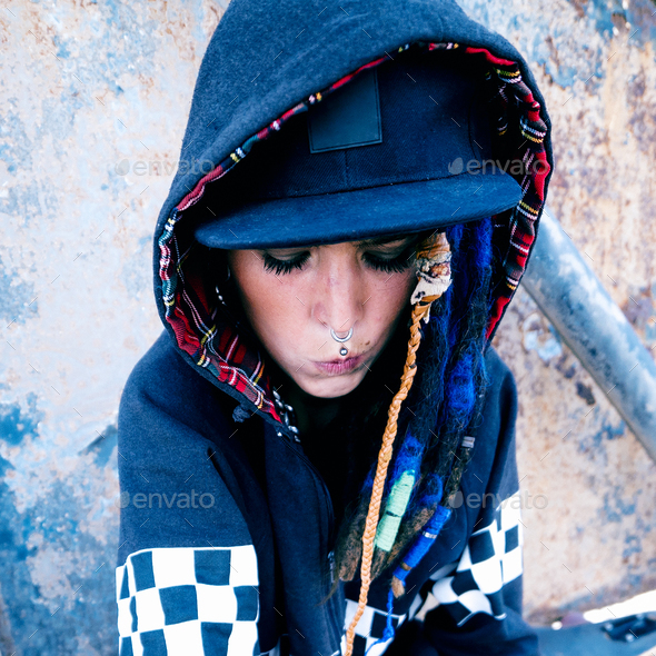 Young model rap hip hop style. Urban Street Fashion - Stock Photo - Images