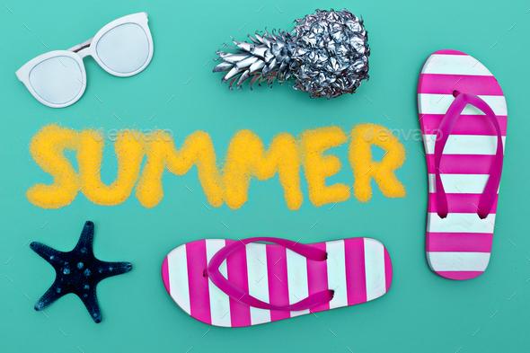 Summer set. Minimal art fashion style - Stock Photo - Images