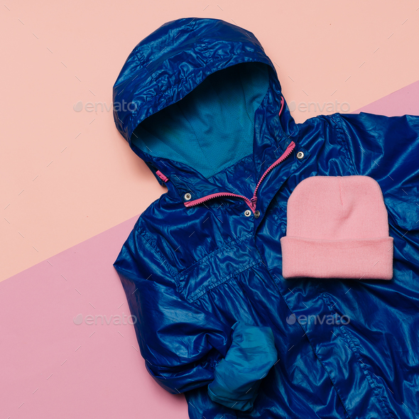 Hello Rains Season. Urban street fashion. Minimal design Blue ra - Stock Photo - Images