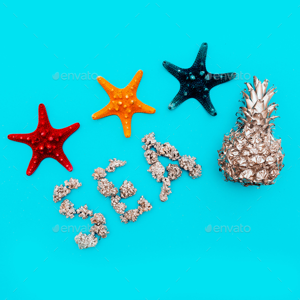 Set of sea stars Beach style. Tropical Minimal art - Stock Photo - Images