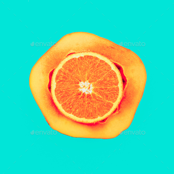 Mix Orange Papaya Love fruit. Fresh tropical ideas. Minimal Crea - Stock Photo - Images