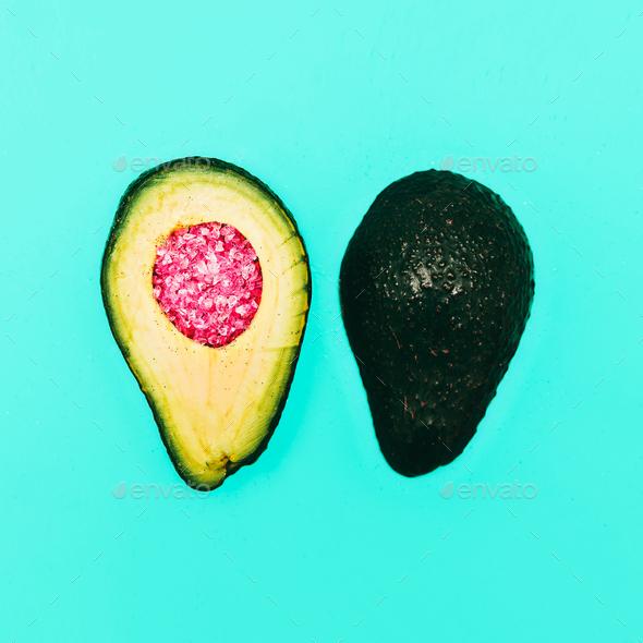 Avocado and rhinestones. Fashion details. minimalism - Stock Photo - Images