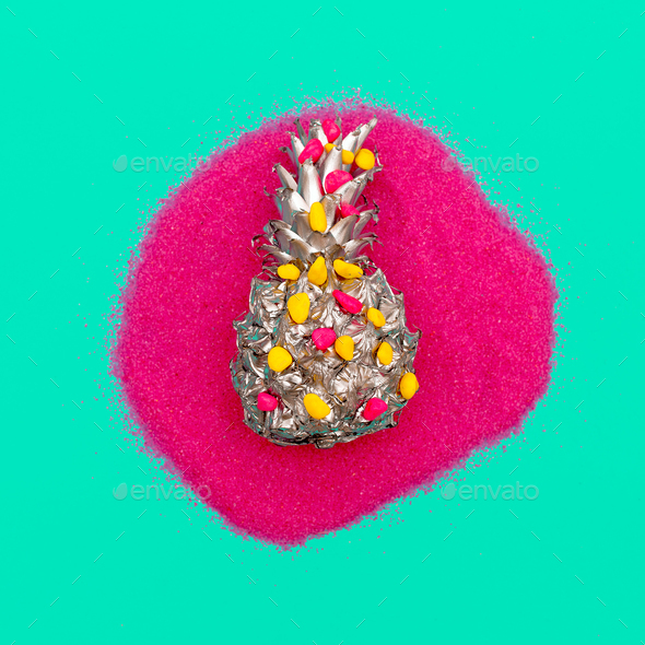 Silver Pineapple in Sequins Minimal art - Stock Photo - Images