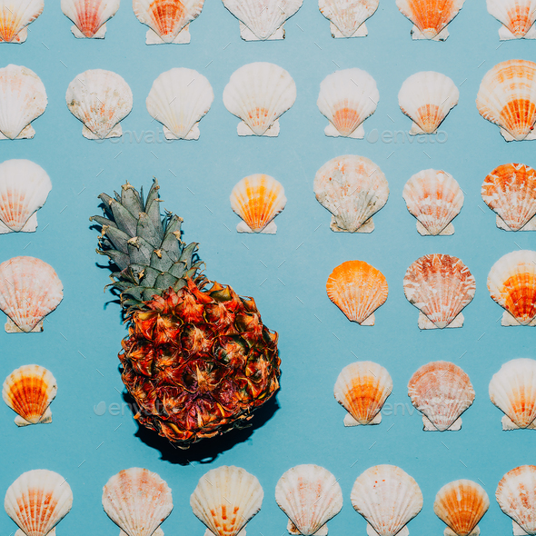 Background of seashells and pineapple Minimal style art - Stock Photo - Images
