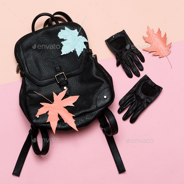 Fashion accessories for women. Leather gloves and backpack. Spri - Stock Photo - Images