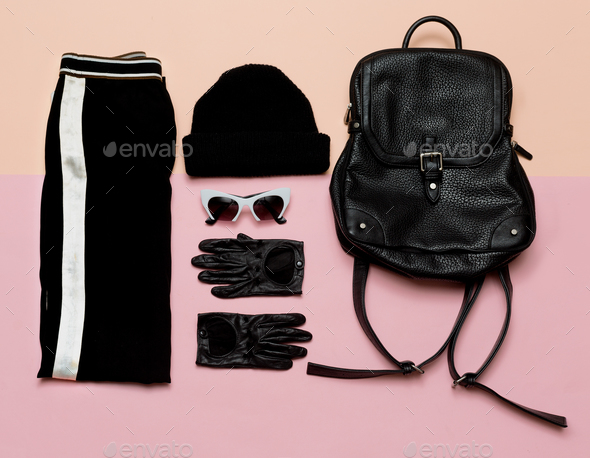 Fashion Black Outfit Accessories For Women. Beanie Backpack Urb - Stock Photo - Images