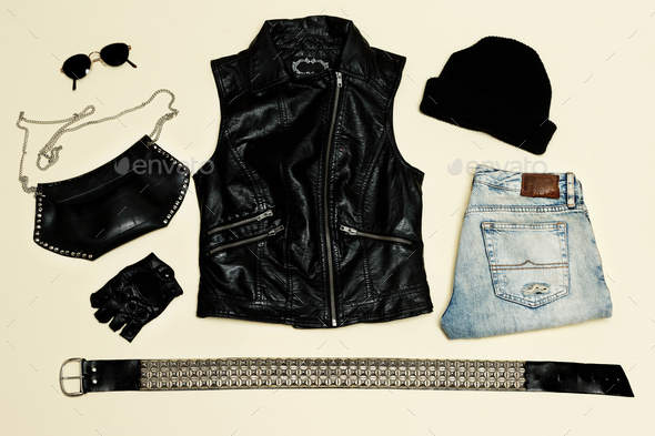 Black fashion set.  Black Vest and black accessories. Glasses  G - Stock Photo - Images
