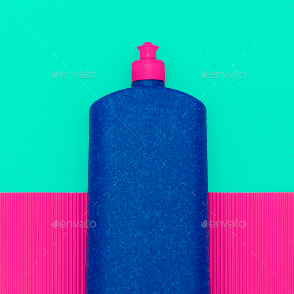 detergent bottle. Minimal art design - Stock Photo - Images