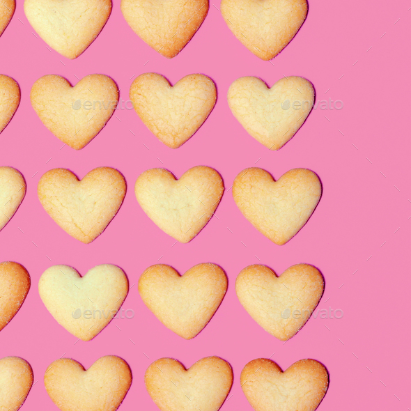 Hearts Cookies Minimal art design Candy colors - Stock Photo - Images