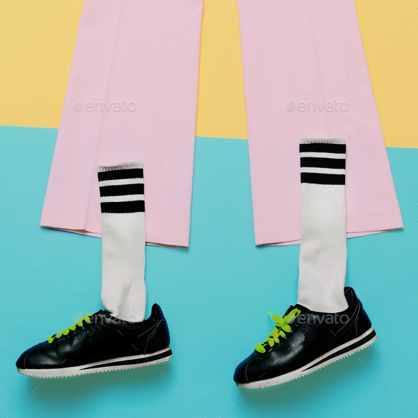 Fashion Training Sneakers and socks. Art minimal style design Co - Stock Photo - Images