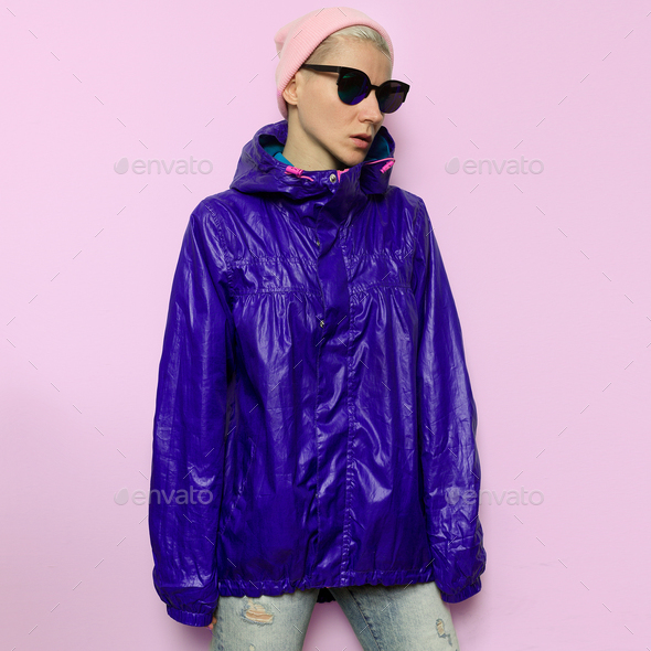 Tomboy windbreaker Model in Urban Style Outfit - Stock Photo - Images