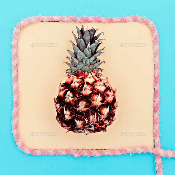 Pineapple in a frame. Beach tropical style. Minimal - Stock Photo - Images