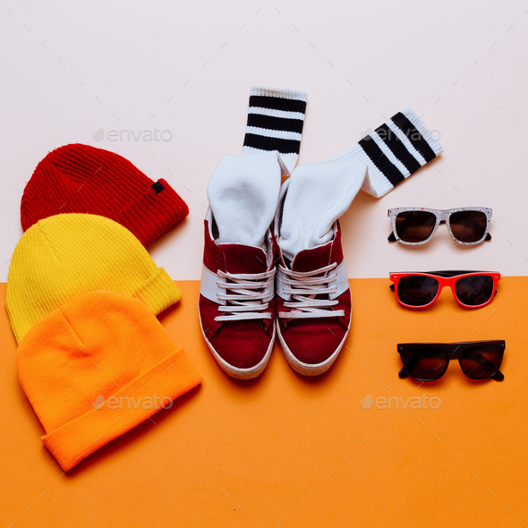 Urban Style Clothing. Skateboard fashion outfit. Sneakers, stock - Stock Photo - Images