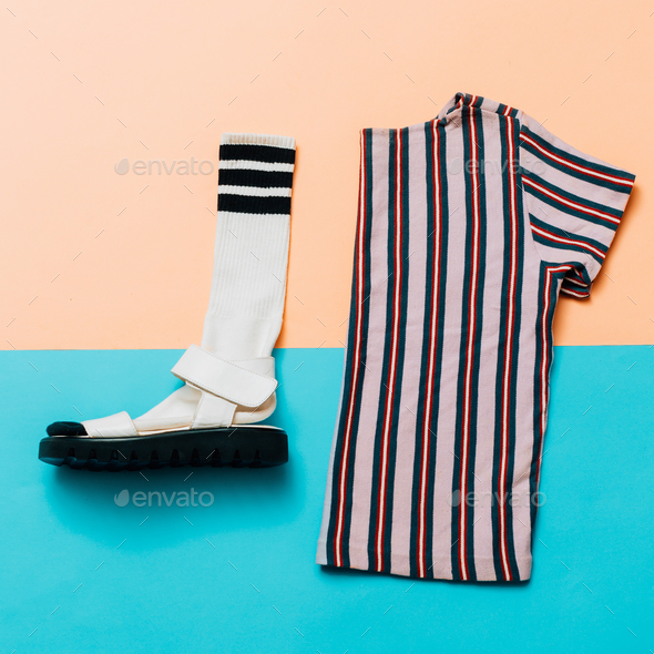 Sandals and socks. T-shirt. A strip of the trend. Summer minimal - Stock Photo - Images