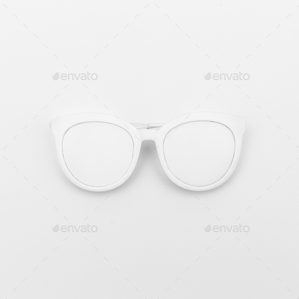 White glasses on a white background. Minimal - Stock Photo - Images