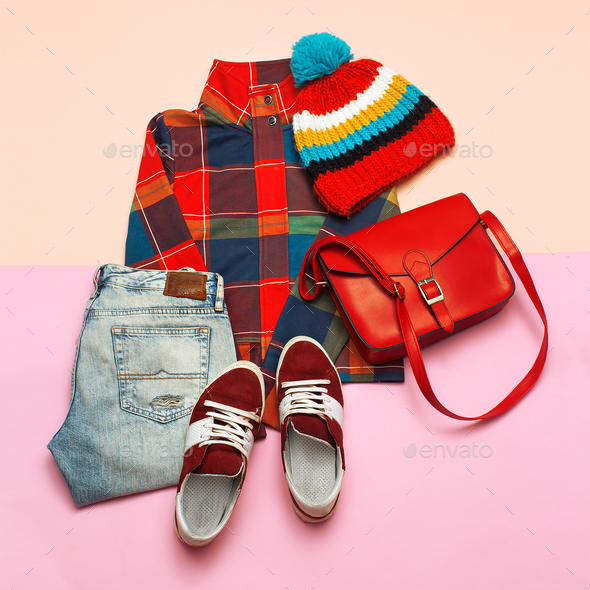 Stylish set of clothes. Checkered jacket and bright accessories. - Stock Photo - Images