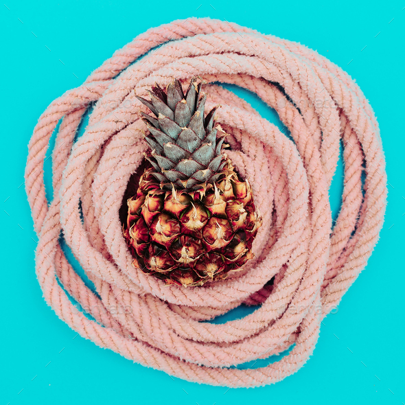 Pineapple and sea rope. Sea vibes. minimal - Stock Photo - Images