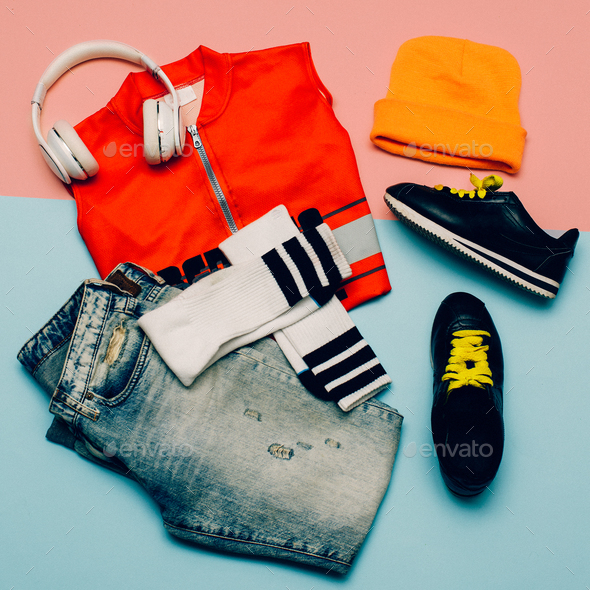 Stylish Urban set. Jeans. Knee socks. Bright Sports Summer Outfi - Stock Photo - Images