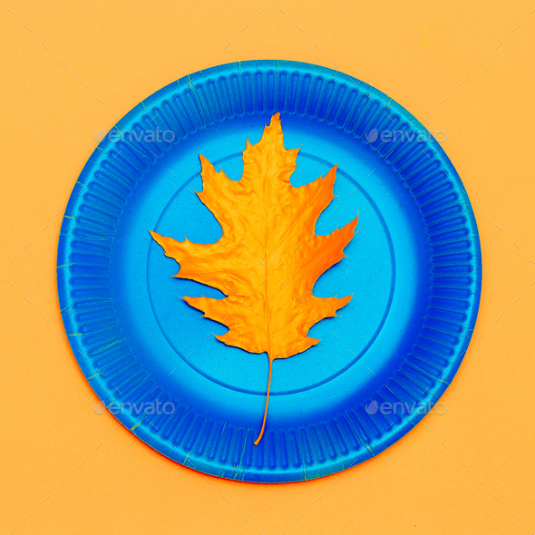 Art gallery. Autumn painted leaf on a plate Minimal - Stock Photo - Images