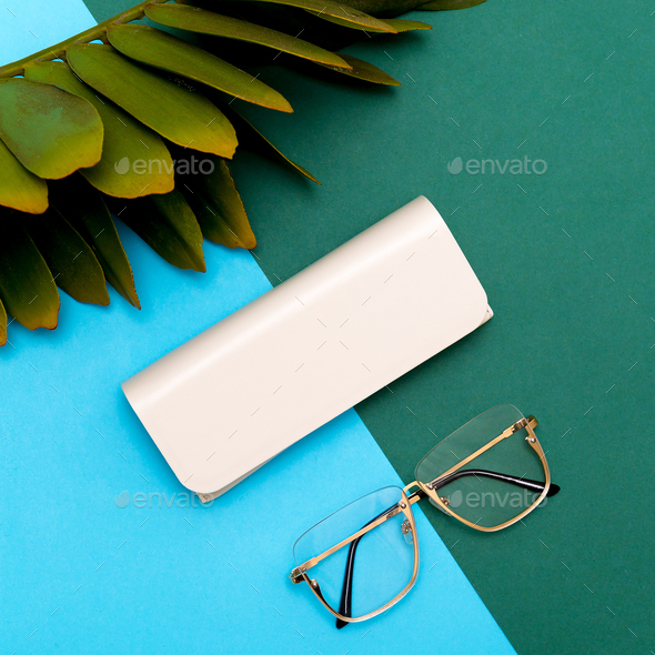 Fashion Eyewear Stylish accessories for women. Flat lay minimal - Stock Photo - Images