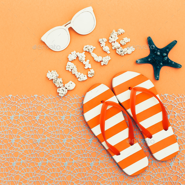 Beach style. Flip-flops, sunglasses. vacation time - Stock Photo - Images