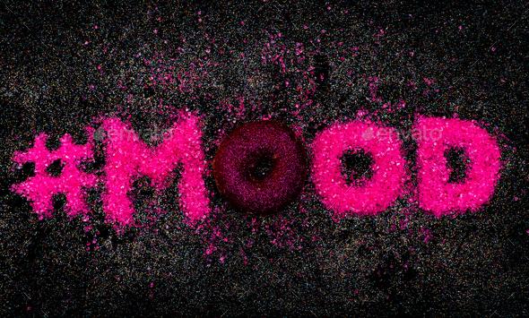 Hashtag Glitter Text Sweet Mood Minimal Design Glamour Donut - Stock Photo - Images