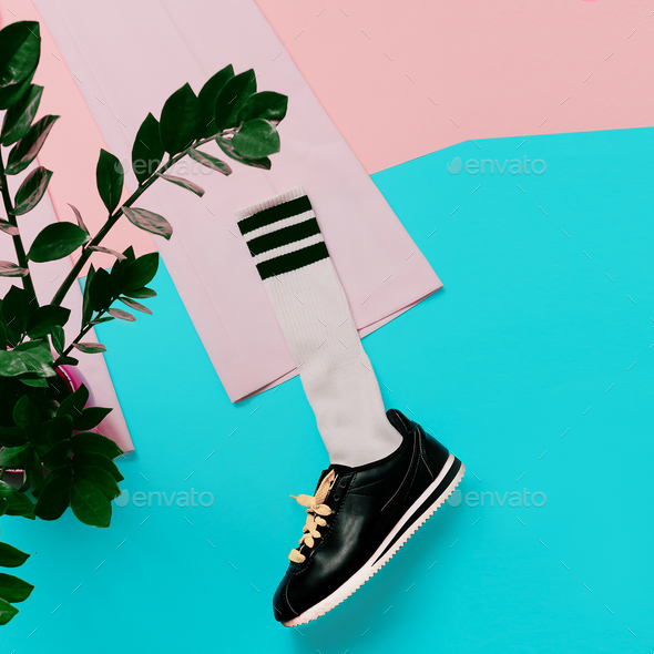 Fashion Sneakers and Hipster Socks. Art minimal style design Col - Stock Photo - Images