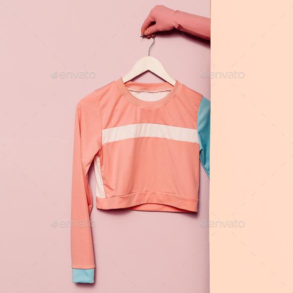 Stylish sportswear. Minimal fashion. Top stripe print on a hange - Stock Photo - Images