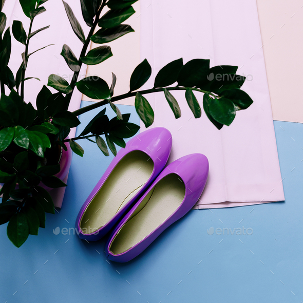 Stylish summer shoes. Pastel colors are trend. Fashion clothing - Stock Photo - Images