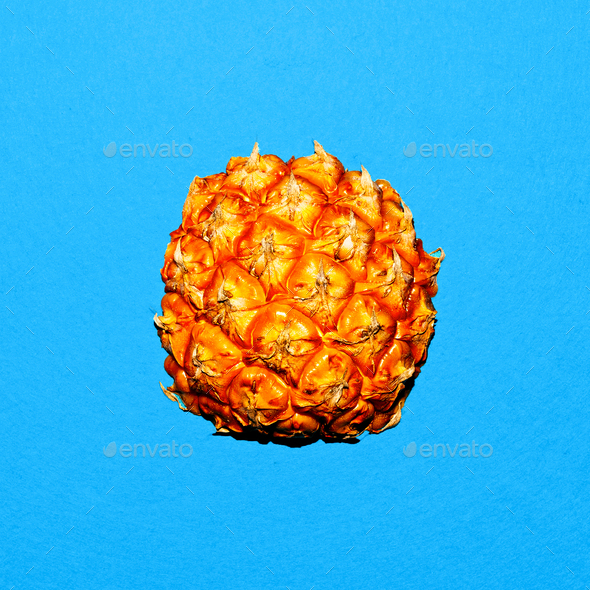 Part of pineapple. Tropical style. Minimal - Stock Photo - Images