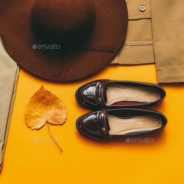 Vintage outfit Shoes hat. Autumn style - Stock Photo - Images