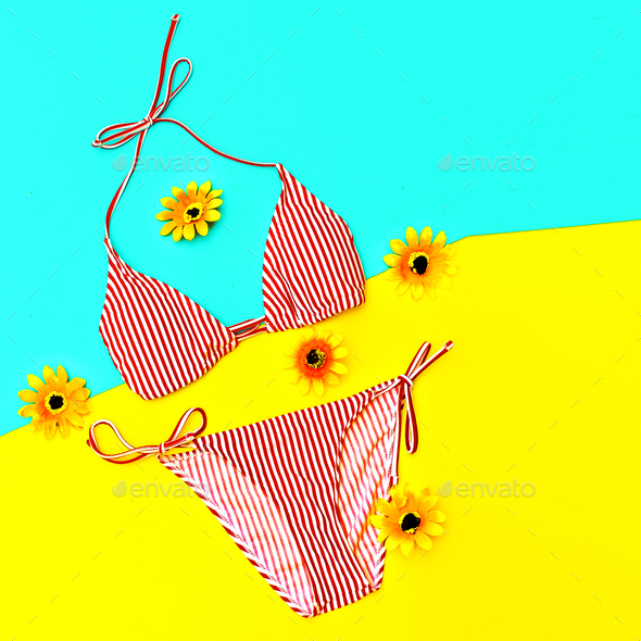 Beach time. Vacation. Stylish Bikini for Lady - Stock Photo - Images