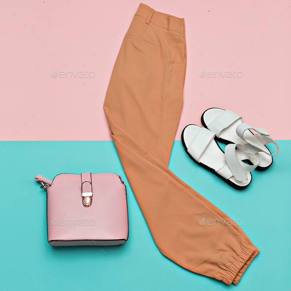 Summer Outfit Trousers Sandals Bag Minimal Design - Stock Photo - Images