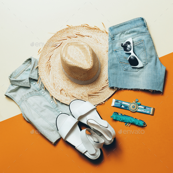 Summer outfit. Denim Shorts Sandals hat Safari style - Stock Photo - Images