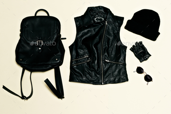 Rock style set. Black Urban fashion. Vest, Backpack cap. Black l - Stock Photo - Images