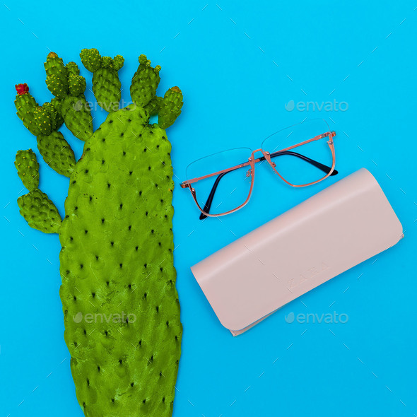 Fashion Glasses. Stylish Eyewear accessory. Flat lay Minimal Sto - Stock Photo - Images